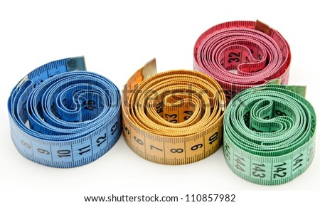 Tapes of colors surrounded by white background
