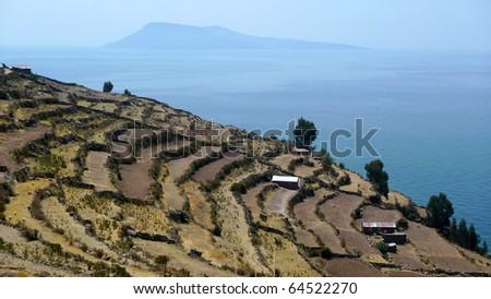 Taquile Island in Lake Titicaca of Peru - stock photo