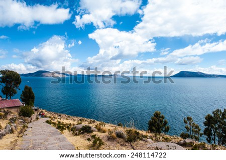 Taquile island, Titicaca lake, Peru - stock photo