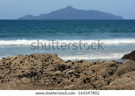 Taranga Island from Waipu Cove - stock photo