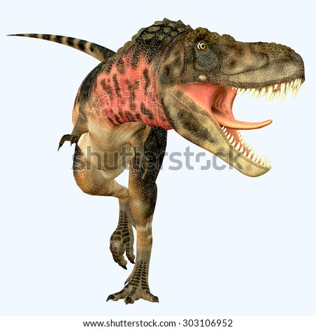 Tarbosaurus Carnivore Dinosaur - Tarbosaurus was a carnivorous theropod dinosaur that lived during the Cretaceous Period of Asia. - stock photo