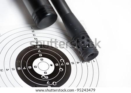 target and air rifle barrel - stock photo