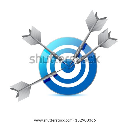 target and darts illustration design over a white background - stock photo
