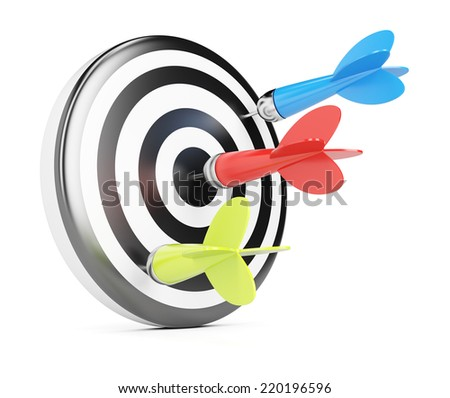 Target and darts isolated on white background. 3d rendering image