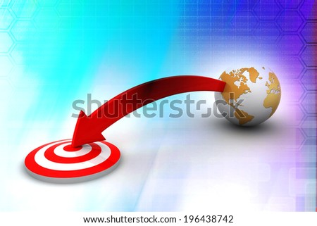 target and globe illustration design   - stock photo