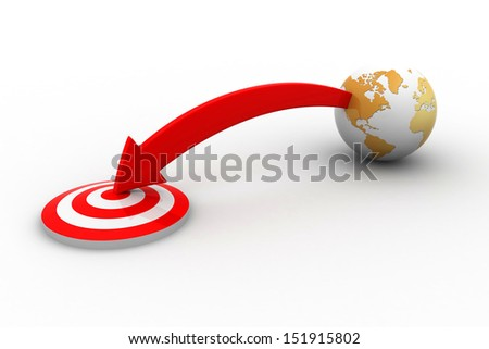 target and globe illustration design over white - stock photo