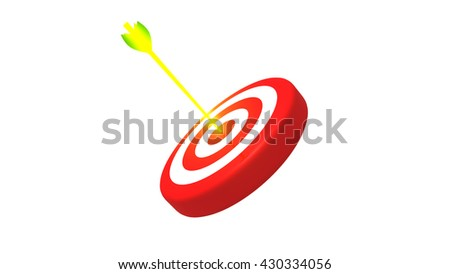 Target and glowing golden arrow, 3D illustration - stock photo