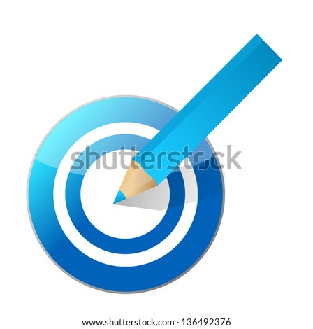 target and pencil illustration design over a white background - stock photo