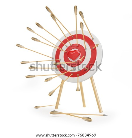 target arrow heart on a white background - stock photo