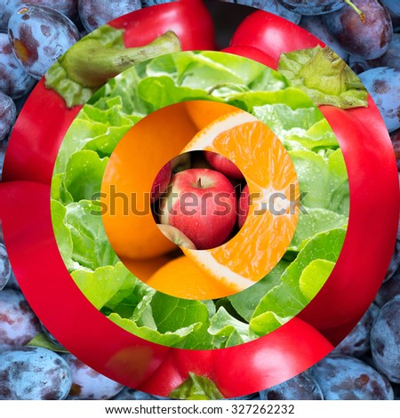 Target as food background, with images of plums, red paprika, salad, oranges and apple in the center - stock photo
