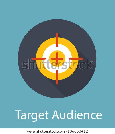Target Audience Flat Concept Icon  Illustration Target Flat Concept Icon Vector Illustration. Target Icon Image. Target Icon Sign. Target Flat Icon - stock photo
