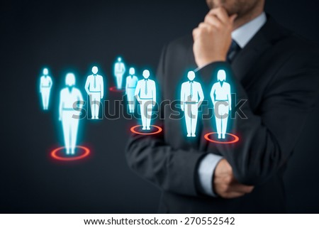 Target audience (marketing) concept. Businessman think about target audience and customers.