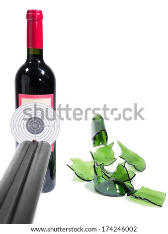Target bottle wine broken isolated white background - stock photo