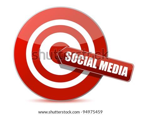 target bulls eye social media illustration design on white - stock photo