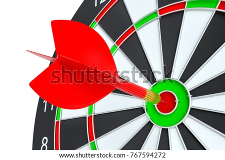 Target dart arrow hitting in the center of dartboard. 3d illustration