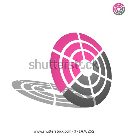 Target icon, 2d and 3d raster on white background - stock photo