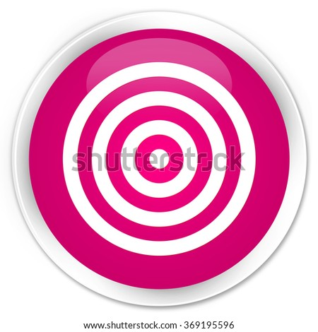 Target icon pink glossy round button - stock photo
