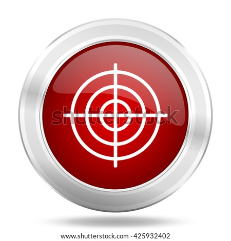 target icon, red round metallic glossy button, web and mobile app design illustration - stock photo