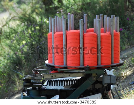 Target Launching Machine with saucer made of clay - stock photo