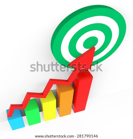 Target Report Showing Business Graph And Trend - stock photo