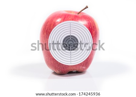 Target ripe apple red reflection isolated white background - stock photo