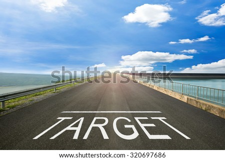 TARGET - Surface concrete road surface to the target. - stock photo