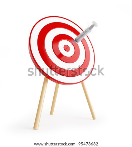target with a syringe on a white background - stock photo