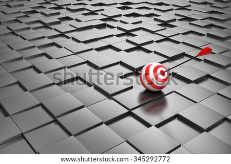 Target with an arrow on set of cubes of black colour
