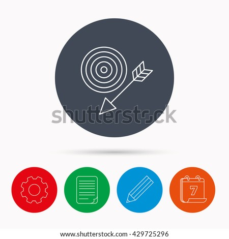 Target with arrow icon. Dart aim sign. Calendar, cogwheel, document file and pencil icons. - stock photo