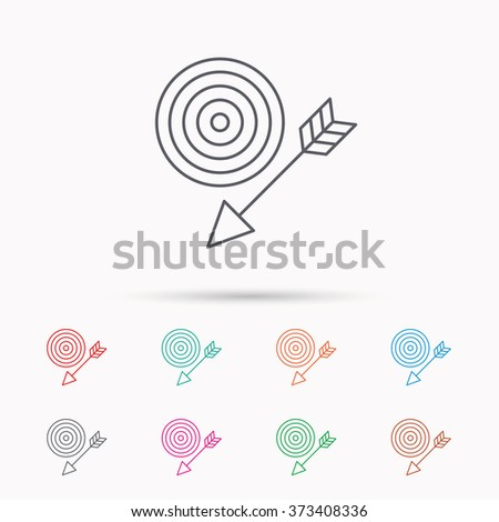 Target with arrow icon. Dart aim sign. Linear icons on white background. - stock photo