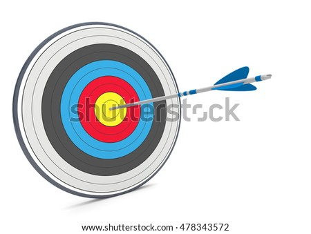 Target with arrow on the white background. 3d illustration.