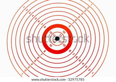 Target with bullet marks in the bulls-eye - stock photo
