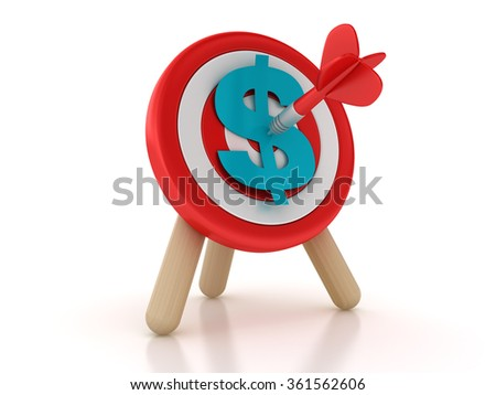 Target with Dollar Sign - High Quality 3D Rendering - stock photo