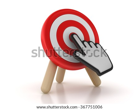 Target with Hand Cursor - High Quality 3D Rendering - stock photo