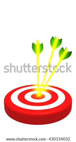 Target with three golden arrow, vertical 3D illustration