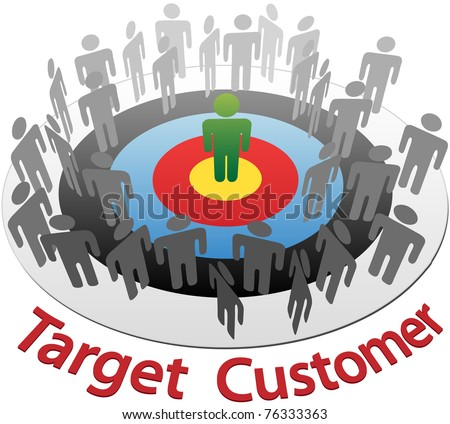 Targeted Marketing to find and choose the best customer in a group of people - stock photo