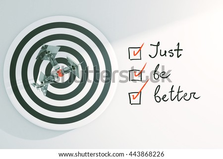 Targeting concept with dartboard, dollar banknote darts and 'just be better' to-do list with checkmarks on light background. 3D Rendering - stock photo