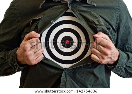 Targeting customers concept. Dartboard on man's chest. - stock photo