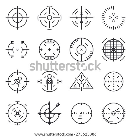 Targets collection. Circle aim, icon, cross and sniper, goal and success