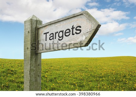 Targets Wooden Sign on Green Flower Landscape