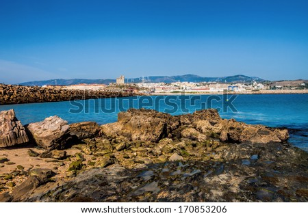 Tarifa, andalusia, Spain. Tarifa is the southernmost  town of Europe and a famous holiday destination. View from the isle of Tarifa to the town