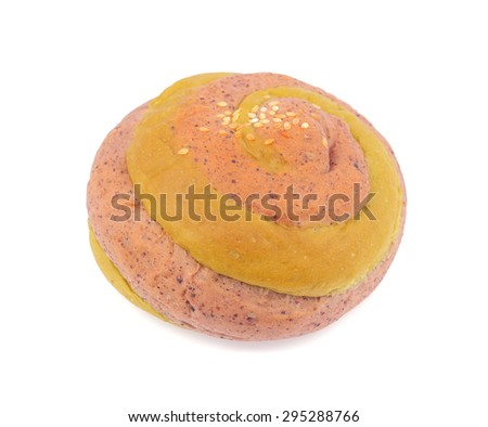 Taro bread with sesame isolate on white background
