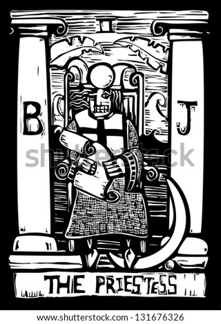 Tarot card for number three the Priestess. - stock photo