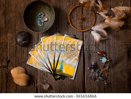 Tarot cards and other fortune teller's accessories - stock photo