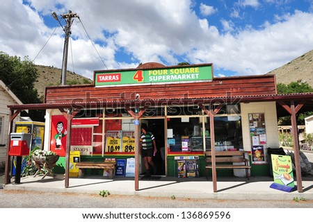 TARRAS,NZ - MAR 02:Four Square shop on March 02 2009. Four Square is iconic chain of supermarkets in New Zealand that operates over 280 stores around the country. - stock photo