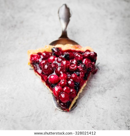 Tart , pie , cake with jellied fresh cranberries, bilberries and winter spices on a grey stone background - stock photo