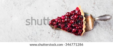 Tart , pie , cake with jellied fresh cranberries, bilberries and winter spices on a grey stone background. Copy space - stock photo