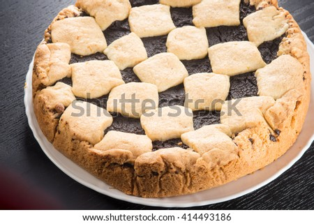 Tart pie pastry and chocolate cream