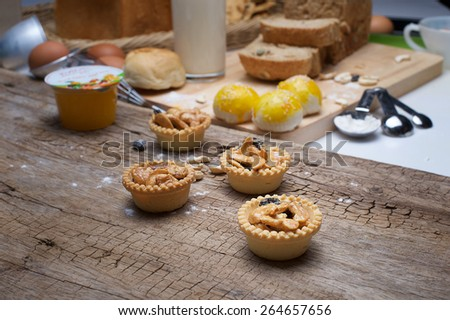 Tart with Cashew nuts and caramel - stock photo