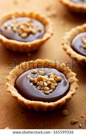 Tart with milk chocolate and roasted cashew nuts - stock photo